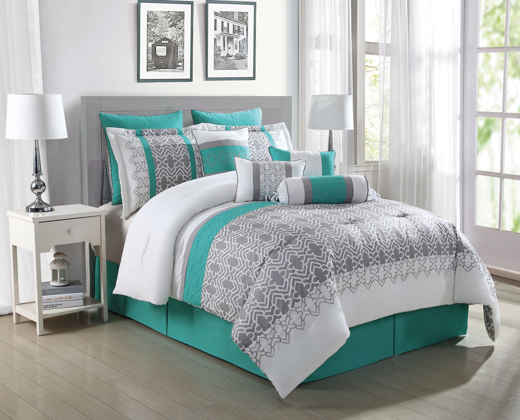 Image of: Grey And Teal Bedding Sets Huge Size