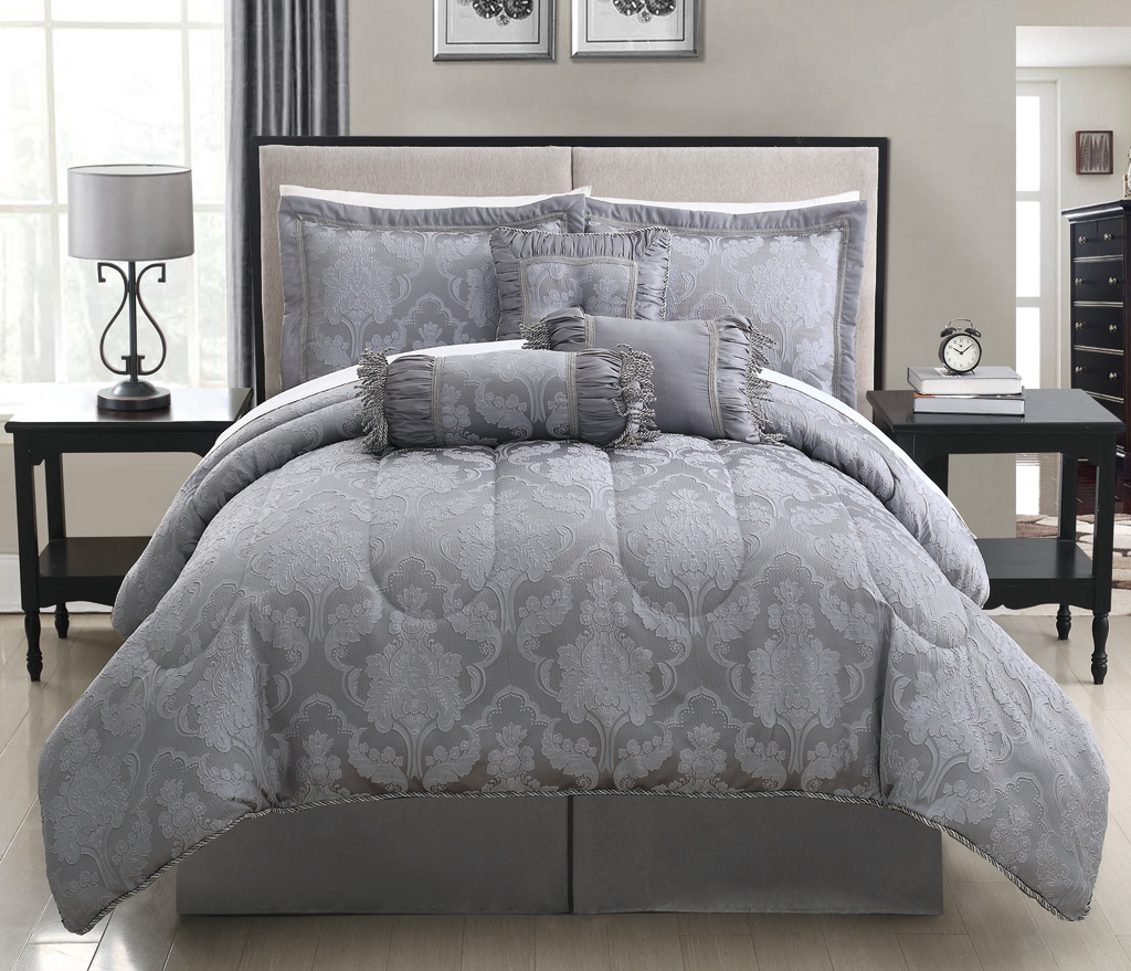 Image of: Grey White Bedspreads King Size