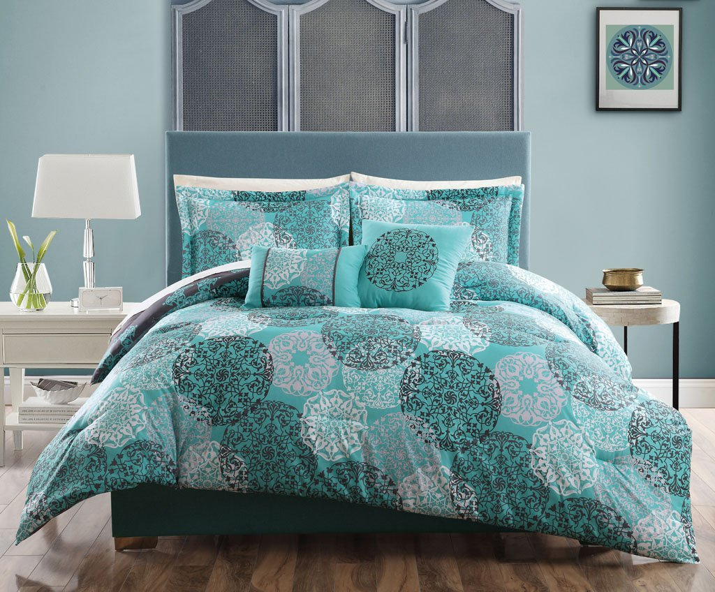 Image of: Innovative Grey And Teal Twin Bedding