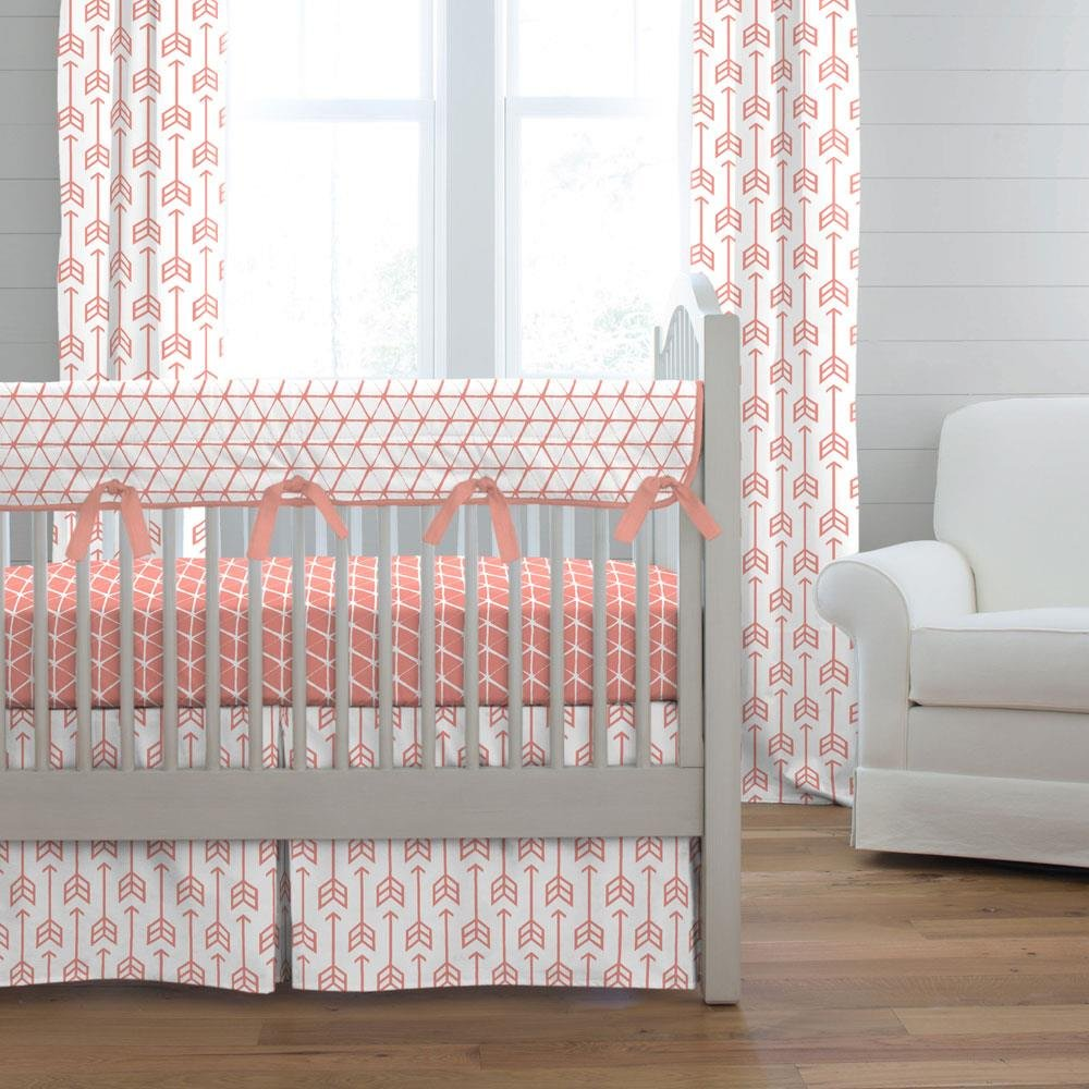 Image of: Light Coral Arrow Crib Bedding Carousel Design Modern Crib Bedding Style