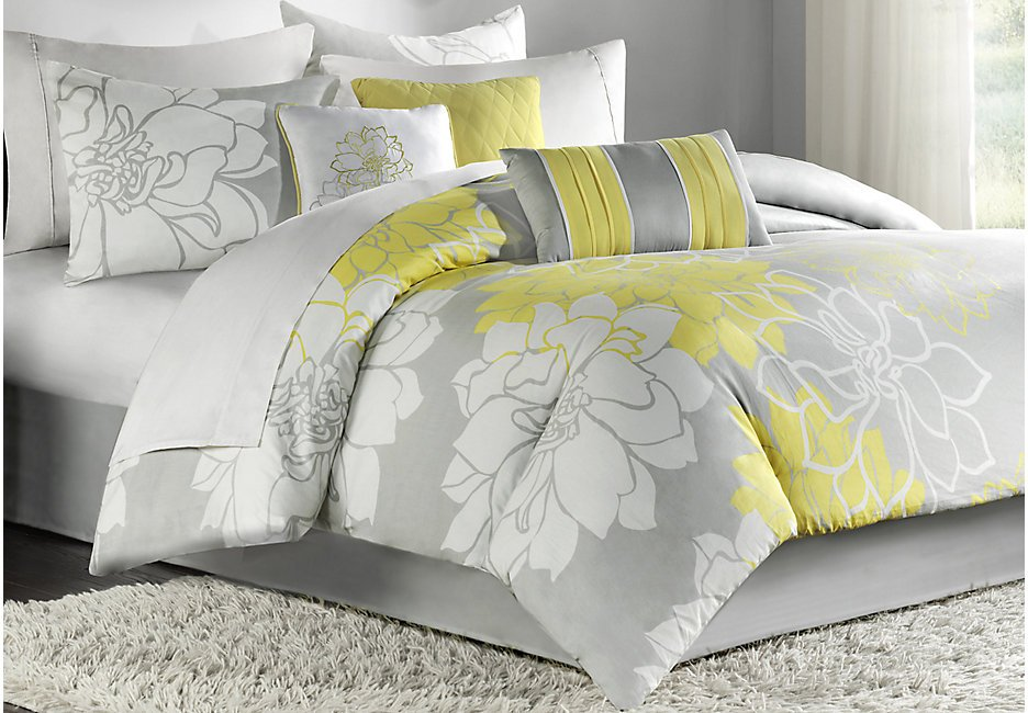Image of: Lola Gray Yellow 7 Pc Queen Comforter Set Queen Linen Beautiful Shades of Grey Bedding Sets