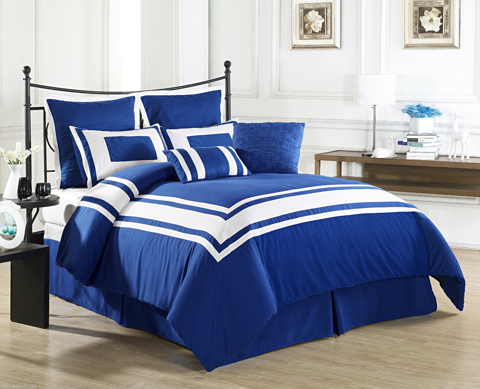 Image of: Lux Blue and White Bed Color