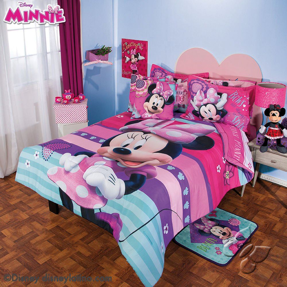 Image of: Minnie Mouse Twin Comforter Bow Papillon Minnie Mouse Ideas for Princess Bedding Set Full