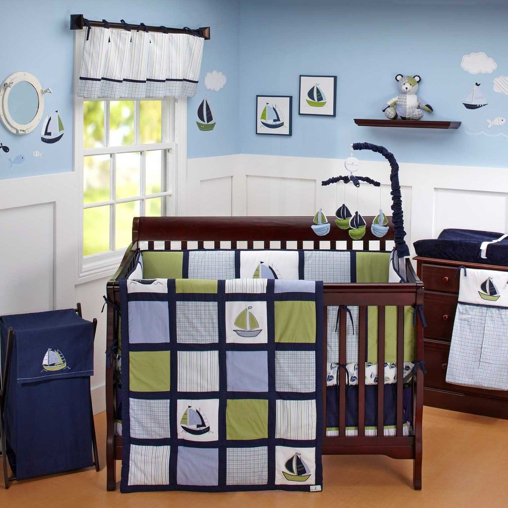 Image of: Nautica Zachary Crib Bedding Collection Baby Bedding Accessory Decorate With Orange Bed Set