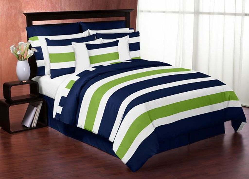 Image of: Navy Blue And Lime Green Bedding