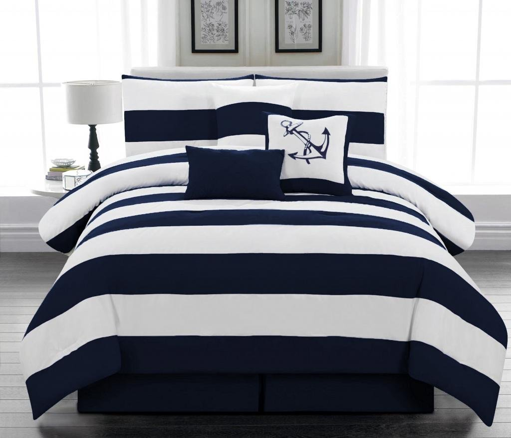 Image of: Navy Blue and White Strip Cover