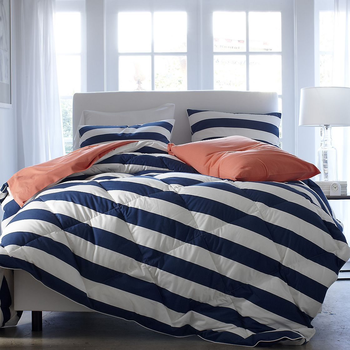 Image of: Navy Striped Blue and White Bedding