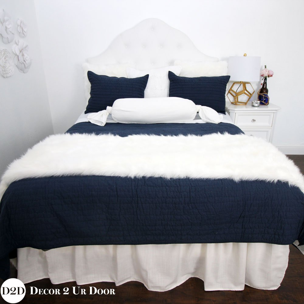 Image of: Navy White Bedding Designer Apartment Bedding Top Advice on Faux Fur Bedding