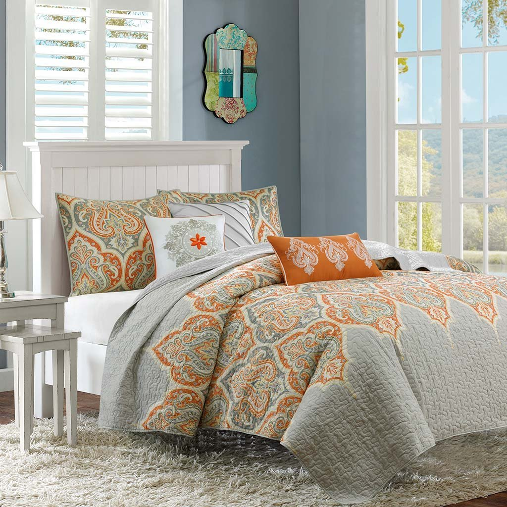 Image of: Orange and Gray Floral Comforter