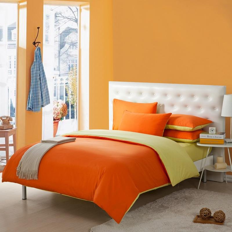 Image of: Orange Colored Toile Simply Chic Bedding Set Decorate With Orange Bed Set