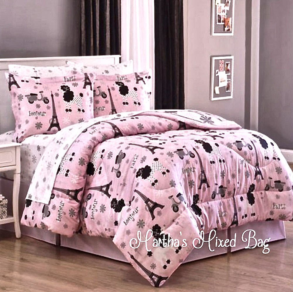 Pari Chic Eiffel Tower French Poodle Teen Girl Pink Sophisticated Paris Bed Set Ideas