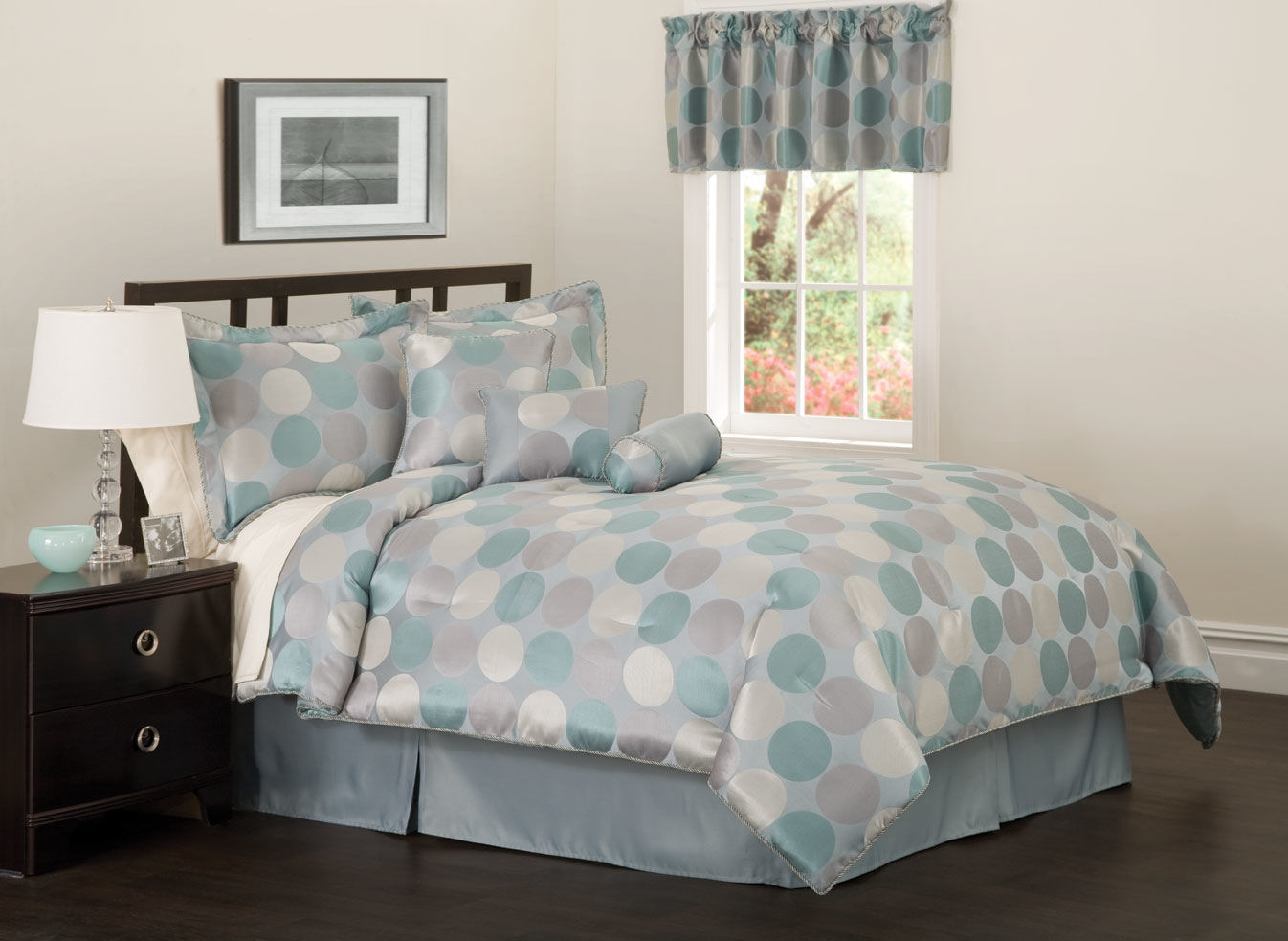 Image of: Polka Dots Teal And Gray Comforter