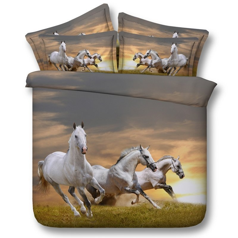 Image of: Realistic Horse Print Bedding Set Browm Horse Animal 3d The Basic Facts of Hipster Bedding