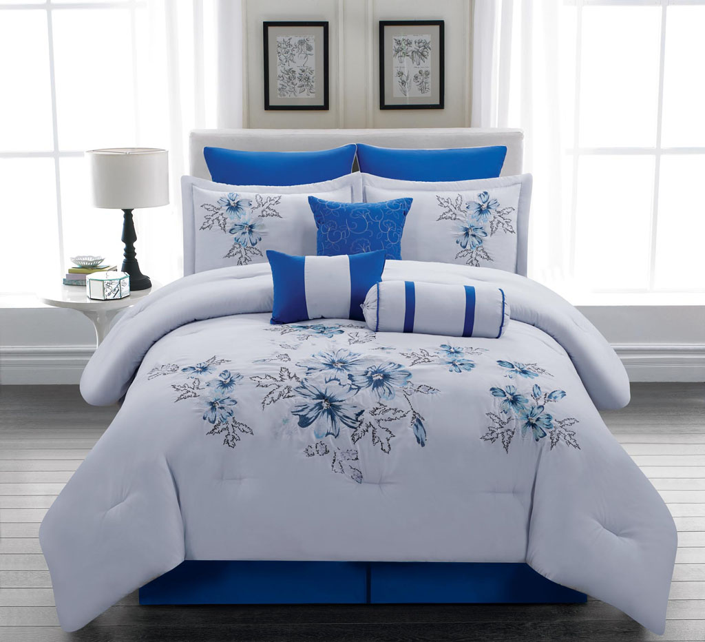 Image of: Royal Blue and White Duvet Cover