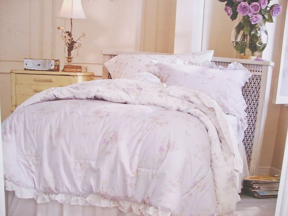 Image of: Simply Shabby Chic Twin Comforter Sham Set Lavendar Purple Cozy, Relaxed and Chic Bedding Sets