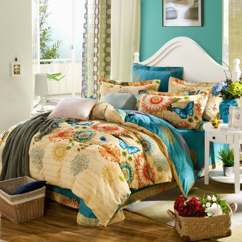 Image of: Sunglow Teal Burnt Orange Butterfly Print Tribal Circle Print Folk Pattern Exotic Decorate With Orange Bed Set