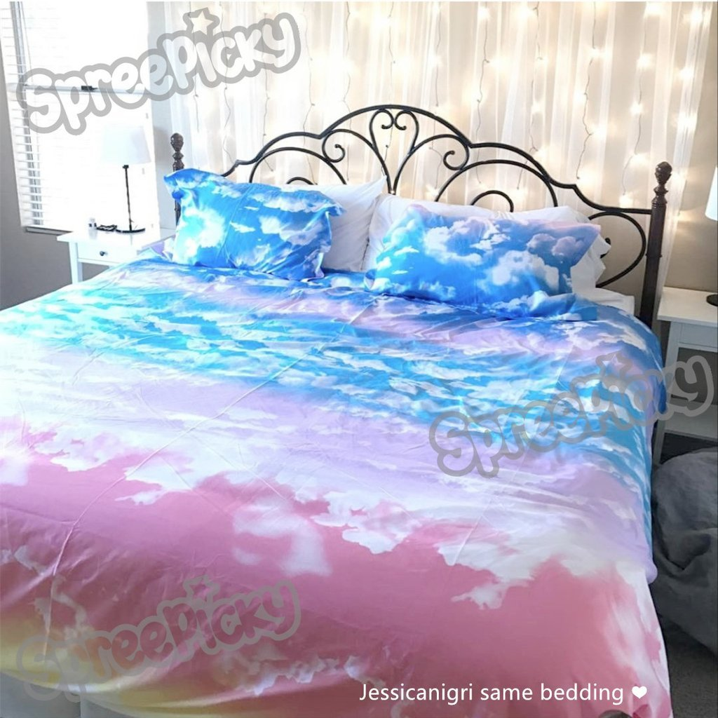 Image of: Sunset Sky Heaven Pastel Cloud Bedding Set Sp168313 Super Cute Cloud Bedding Set You'll Love