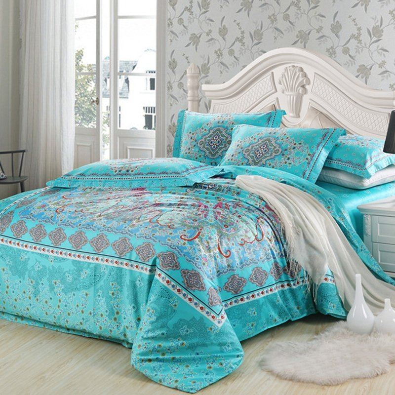 Image of: Turquoise Red Southwestern Style Unique Floral Pattern Vogue Tribal Print 100 Egyptian Boho Bedding Sets with a Few Simple Details