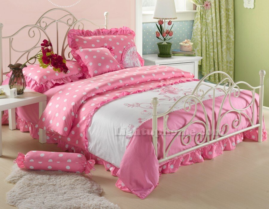 Image of: White Pink Polka rl Princess Lace Ruffled Embroidered Bedding Twin Full Queen Bedding Green Bedding Sets To Sleep Better
