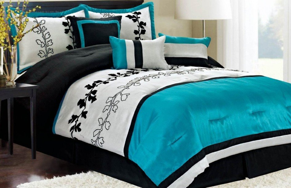 Image of: Black White Teal Bedroom Idea Black White Teal Awesome Ideas Teen Bed Sets