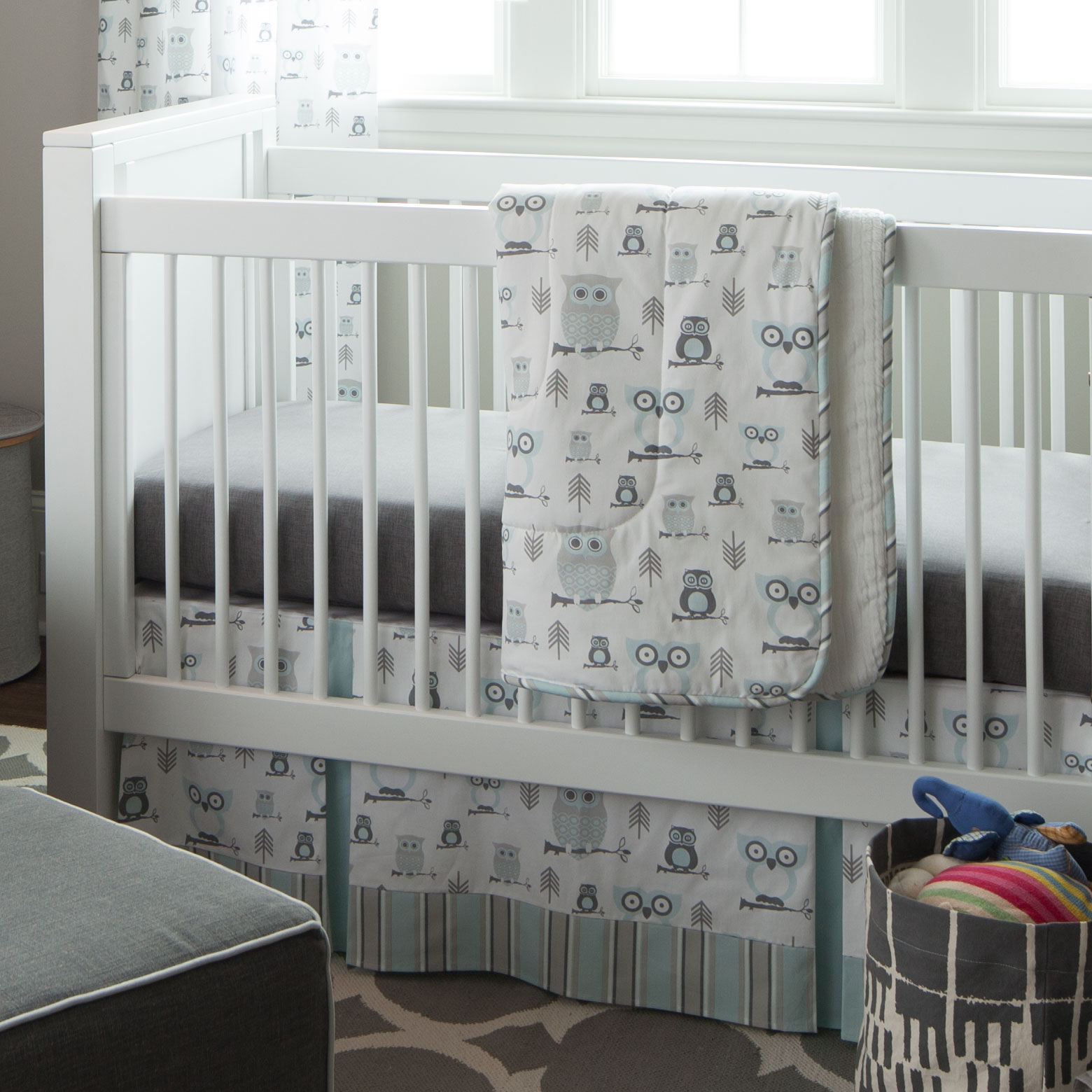 Image of: Budget Baby Bedding Gray Owl