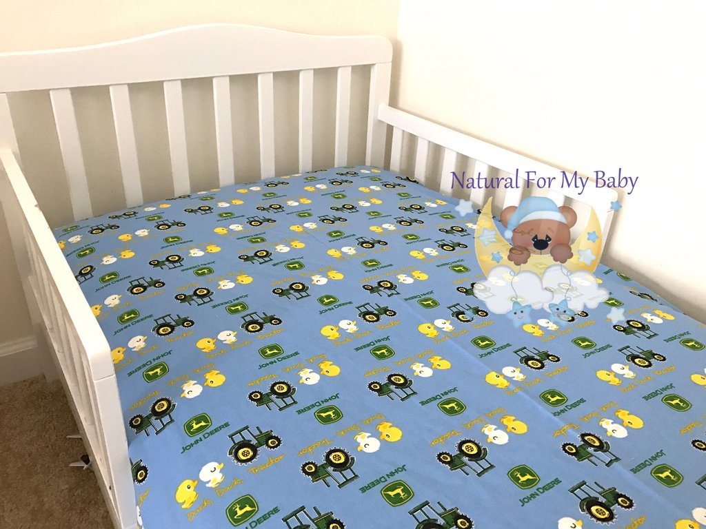 Image of: Cotton Tractor Car Fitted Crib Sheet Transport Toddler Western Baby Bedding Nursery Theme