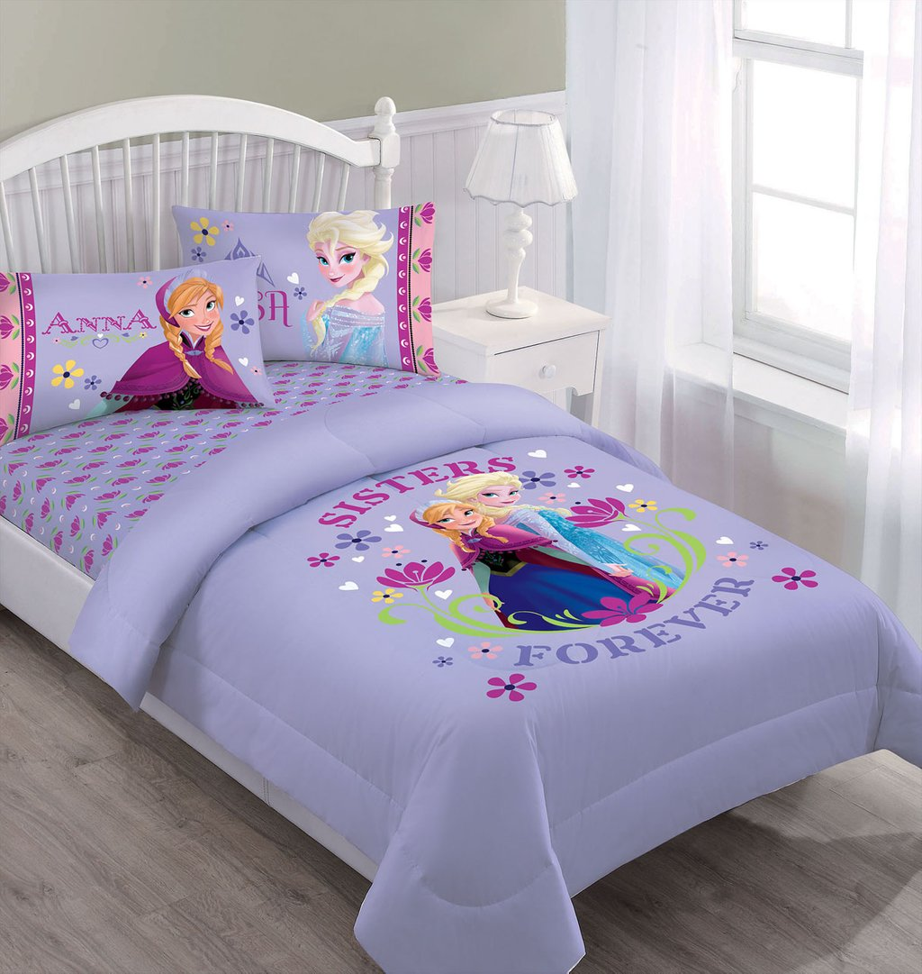 Image of: Disney Frozen Nordic Summer Floral Comforter Set Princess Bedding Sets Style