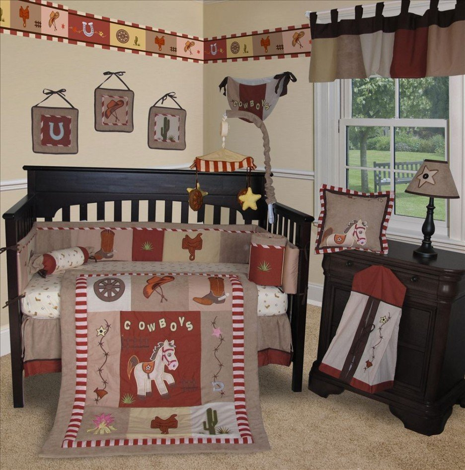 Image of: Fascinating Modern Western Baby Bedding Cowboy Scheme Combined Black Wooden Frame Unify Western Baby Bedding Nursery Theme