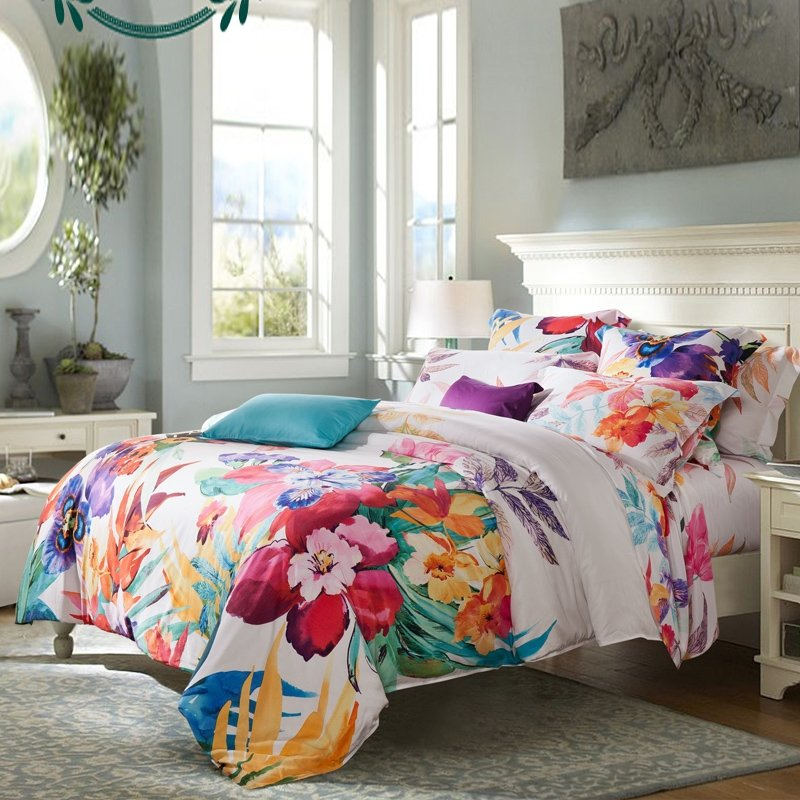 Image of: Girl Carmine Red Yellow Teal Beige Tropical Colorful Floral Bedding Sets To Be Feminine
