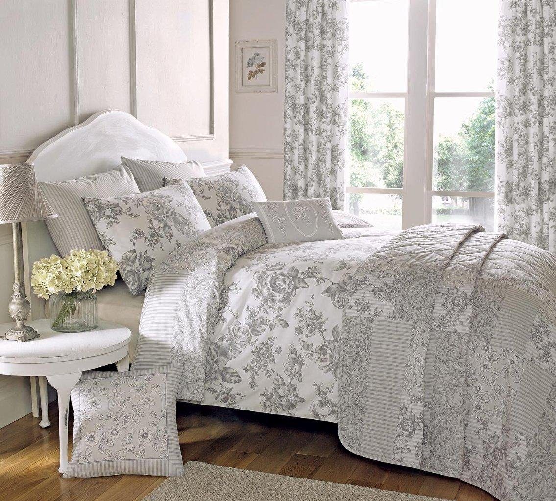 Image of: Gray Flowers Bedding and Curtains