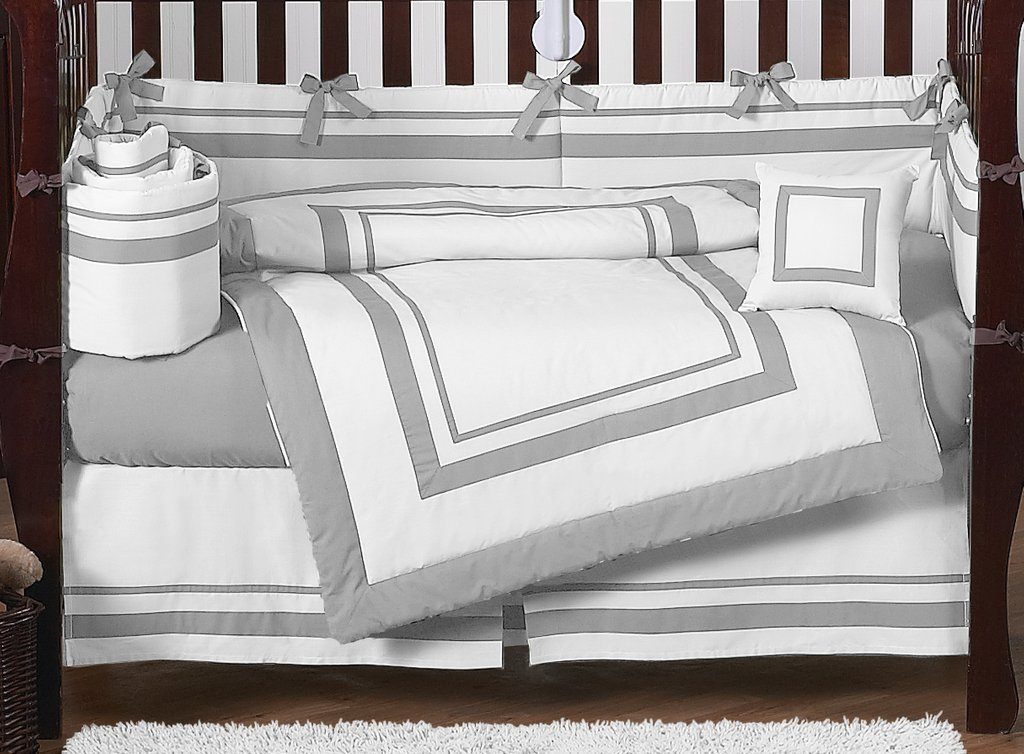 Image of: Gray White Crib Bedding Set Contemporary Modern Gray Modern Baby Bedding Style