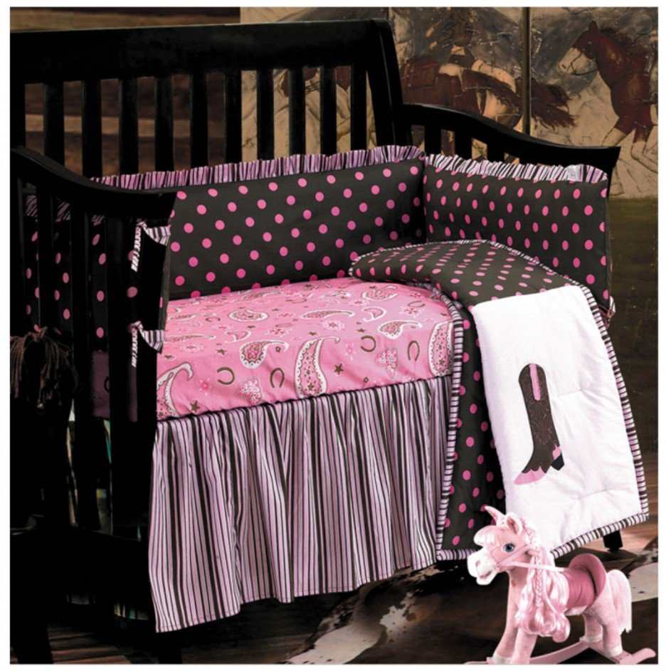 Image of: Interesting Modern Western Baby Bedding Black Wooden Crib Bed Frame Combined Pink Western Baby Bedding Nursery Theme