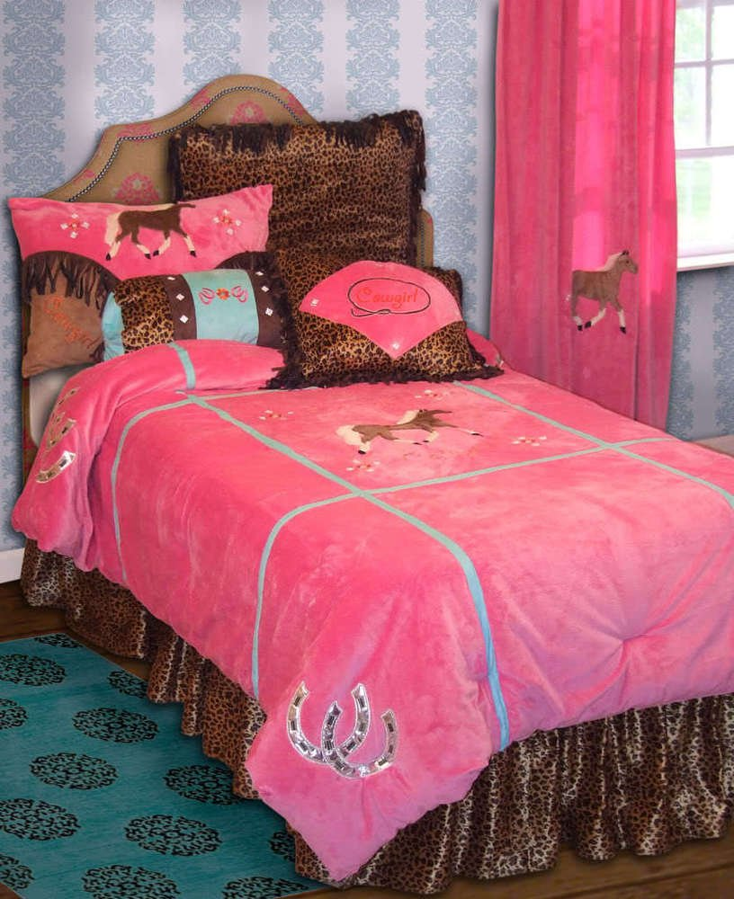 Image of: Kid Twin 3 Pc Set Girl Pink Leopard Cowgirl Western Western Baby Bedding Nursery Theme