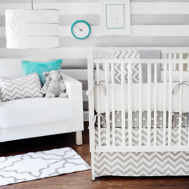 Image of: Luxury Gray Baby Bedding Sets