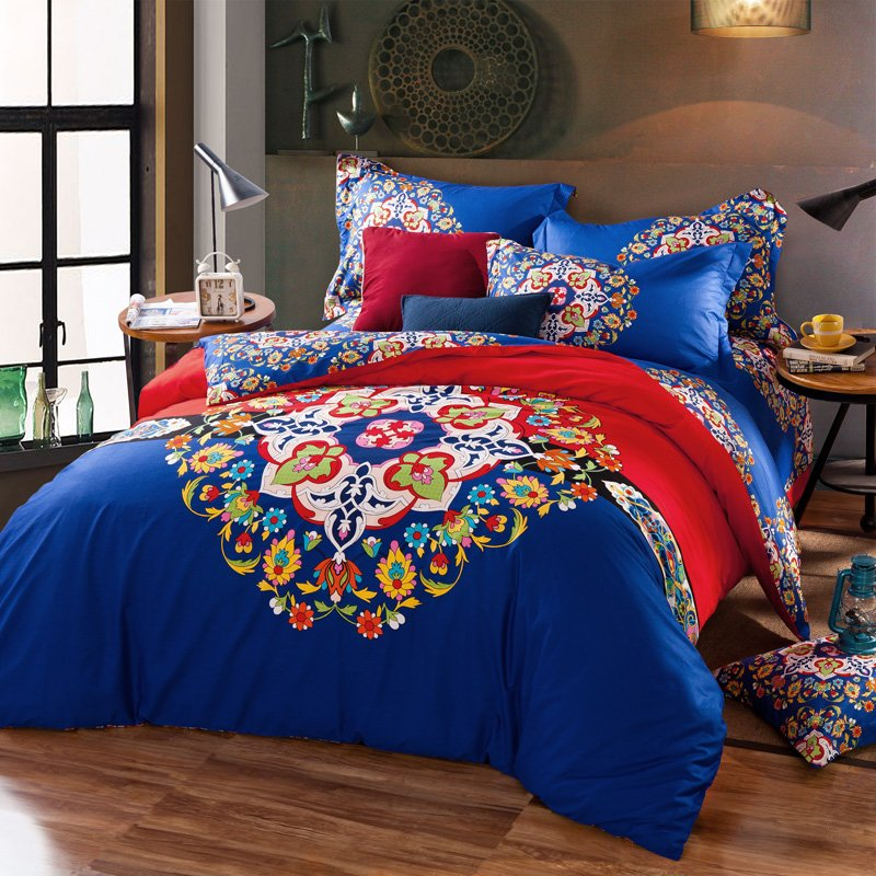 Image of: Moroccan Style Vintage Geometric Floral Bedding Set Queen Floral Bedding Sets To Be Feminine