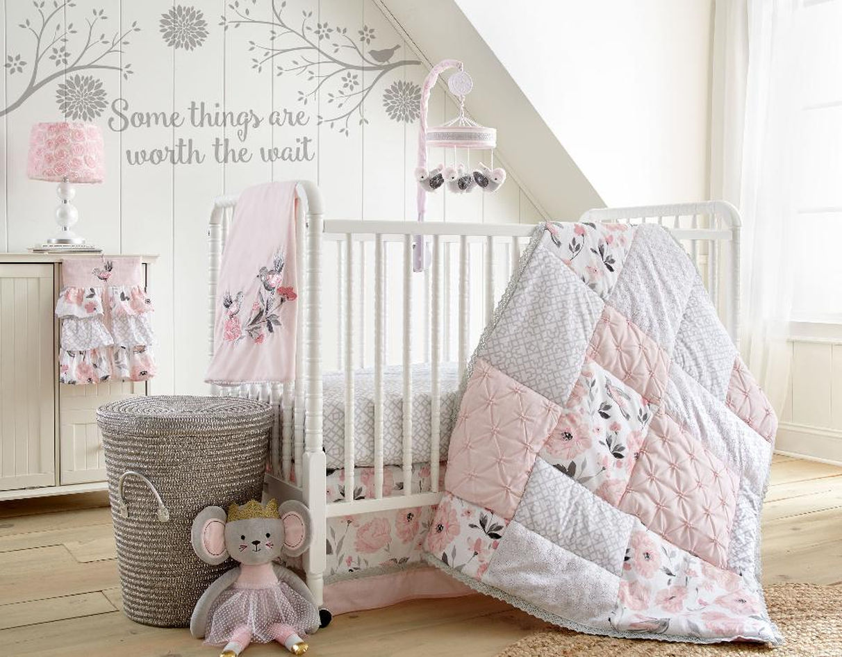 Image of: Pink Floral Crib Baby Bedding