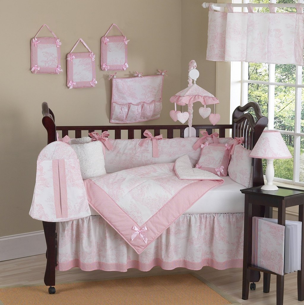 Image of: Pink White French Toile Baby Crib Bedding 9pc Girl Floral Bedding Sets To Be Feminine