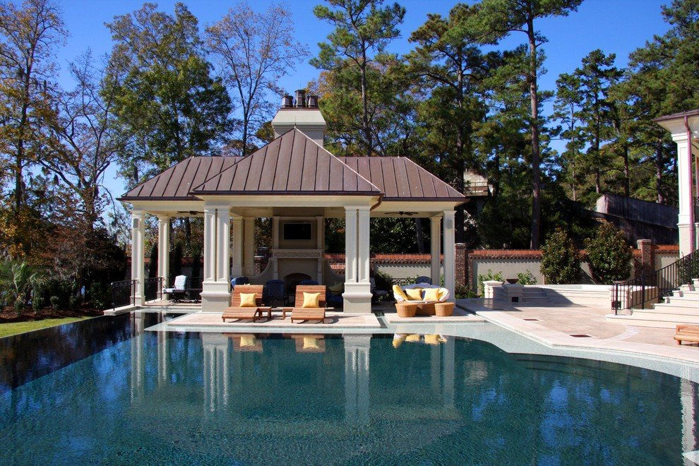 Image of: Pool Cabana Ideas Pool Traditional Column Concrete Top Choices of Tiffany Blue Bedding