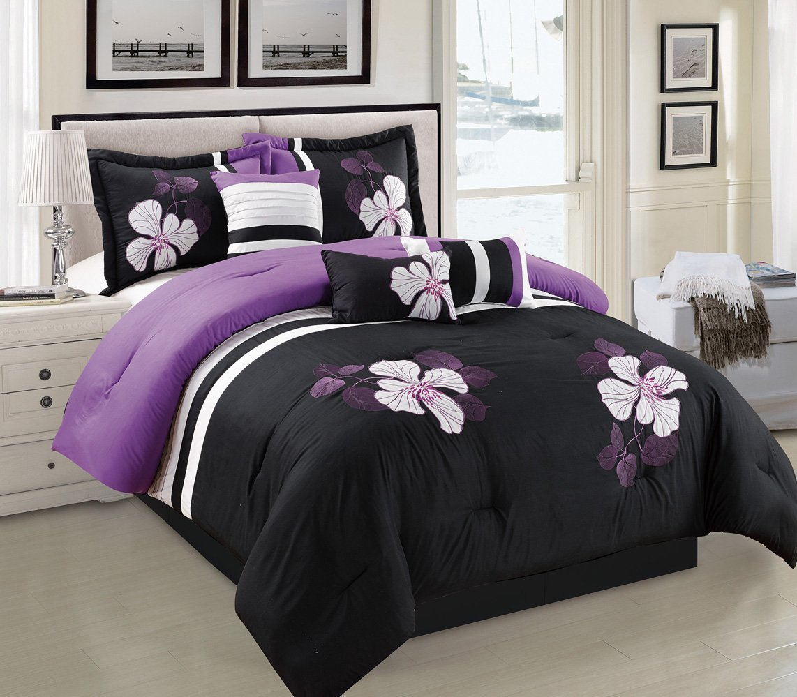 Image of: Purple and Black Floral Bedding