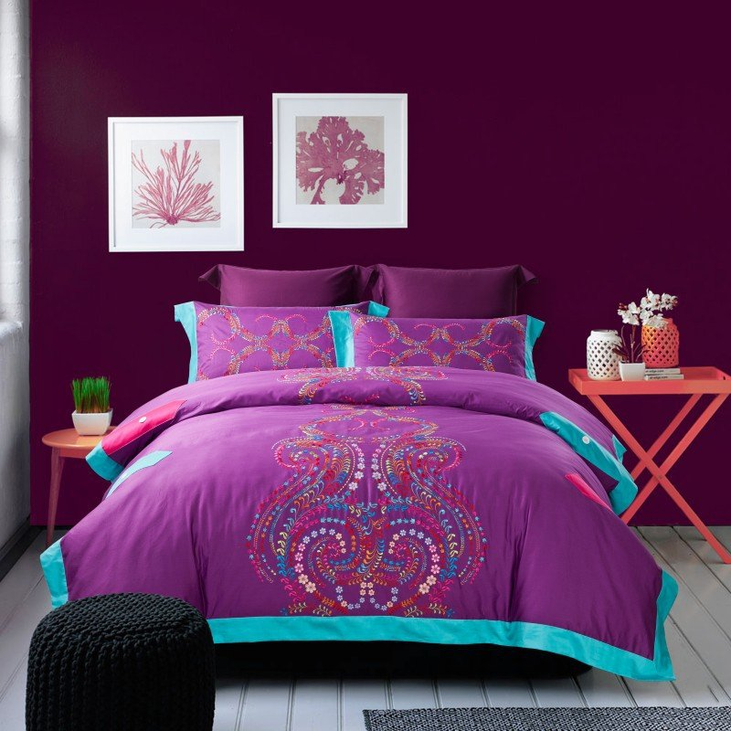 Image of: Purple Duvet Set Promotion Online Shopping Promotional Princess Bedding Sets Style