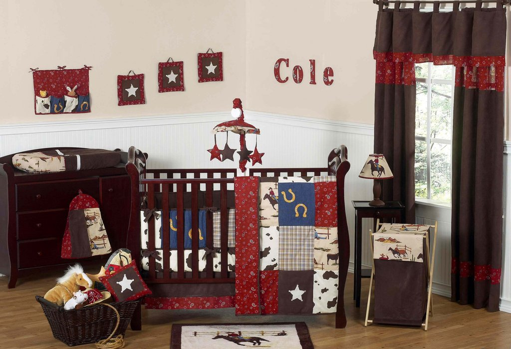 Image of: Red Paisley Cowboy Western Baby Crib Bedding 9pc Boy Nursery Set Brown Print Western Baby Bedding Nursery Theme