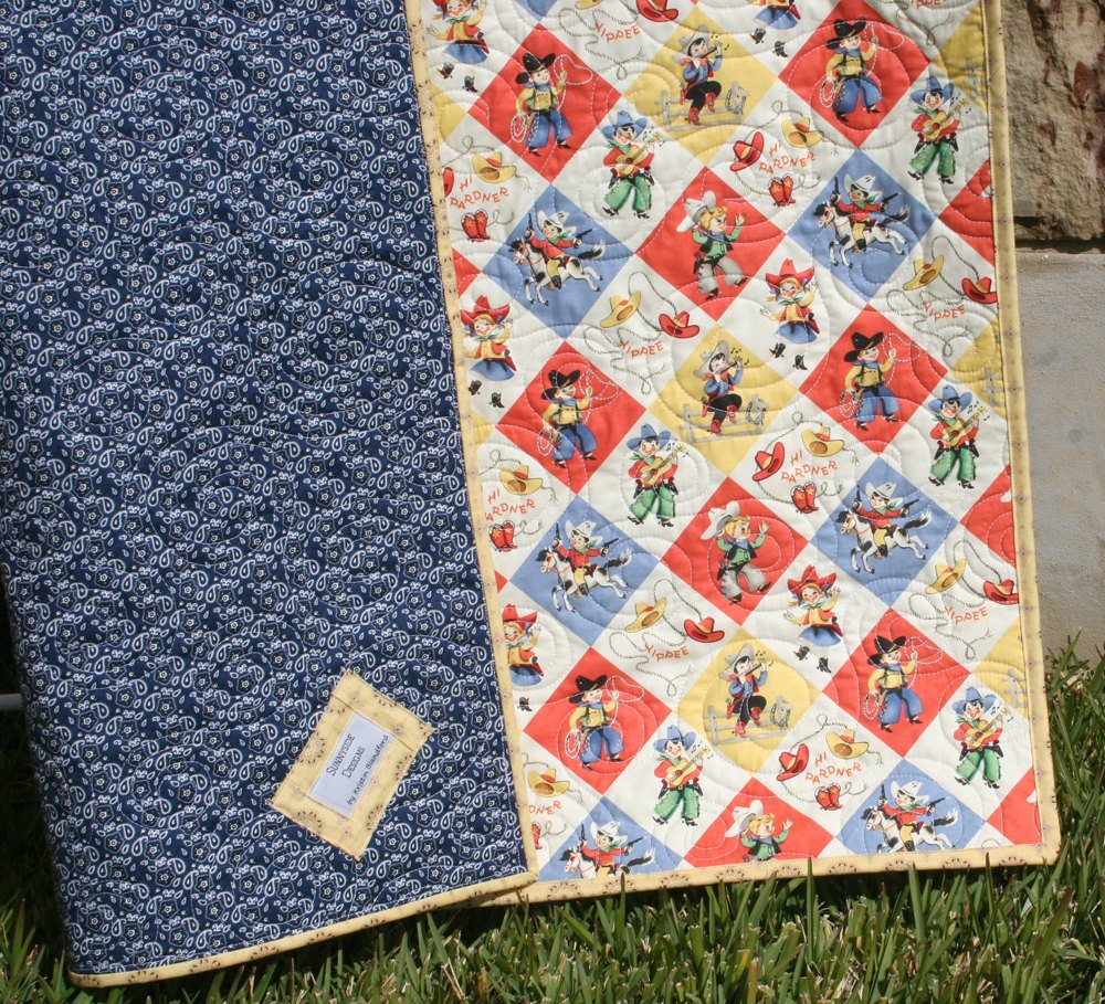 Image of: Retro Cowboy Quilt Baby Blanket Western Country Vintage Yippee Western Baby Bedding Nursery Theme