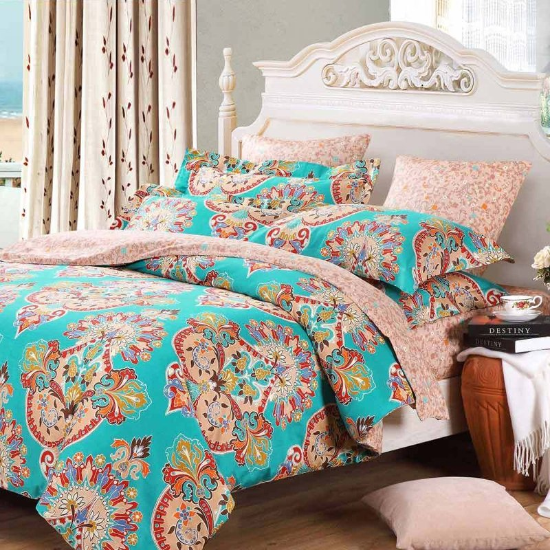 Image of: Teal Blue Pink Red Baroque Style Bohemian Chic Tribal Print Indian Pattern Full Queen Size Gray Baby Bedding Set Appeal To You