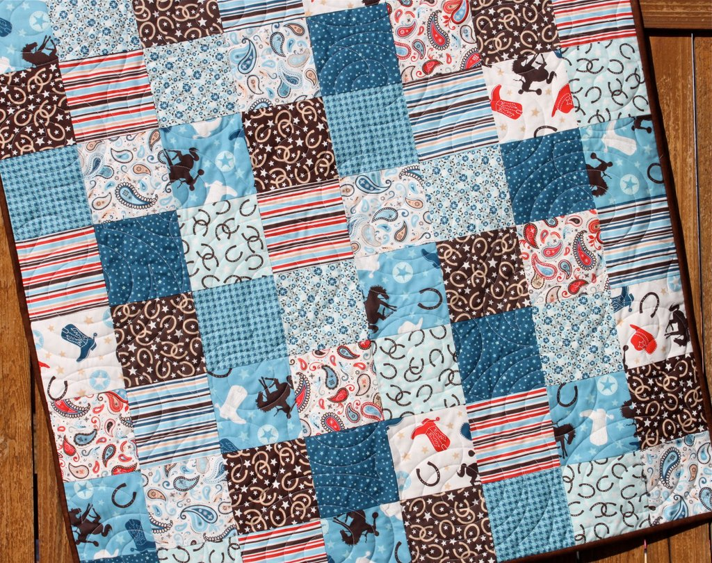 Image of: Western Cowboy Baby Boy Quilt Blue Brown Red Jennymsquilt Western Baby Bedding Nursery Theme
