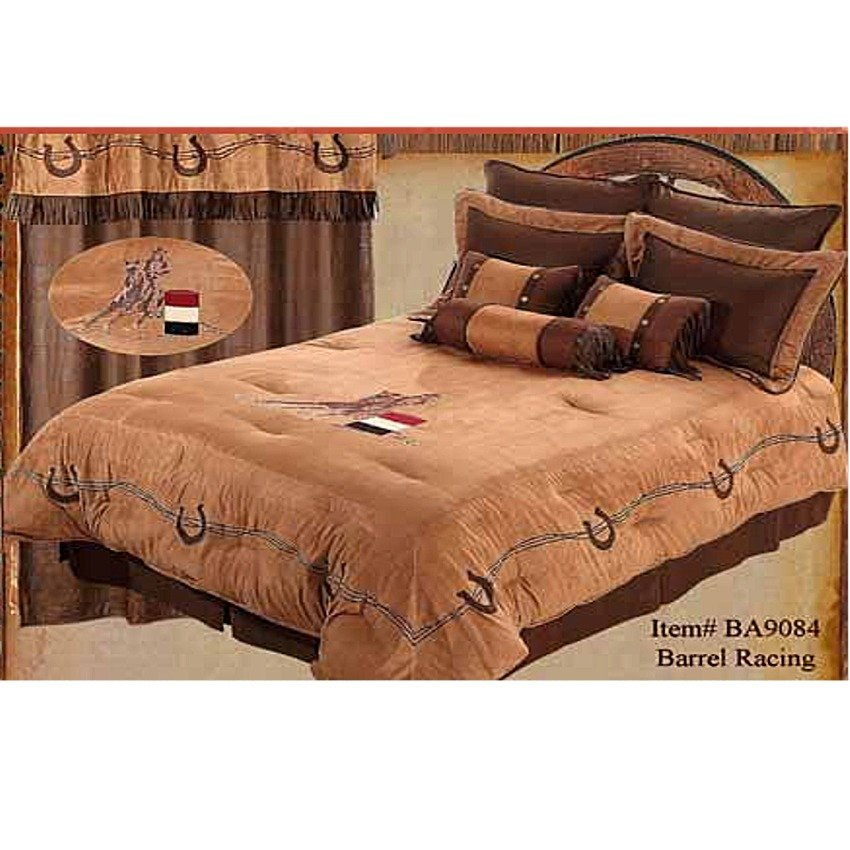 Image of: Western Cowgirl Barrel Racer Embroidered Western Comforter Set Western Baby Bedding Nursery Theme