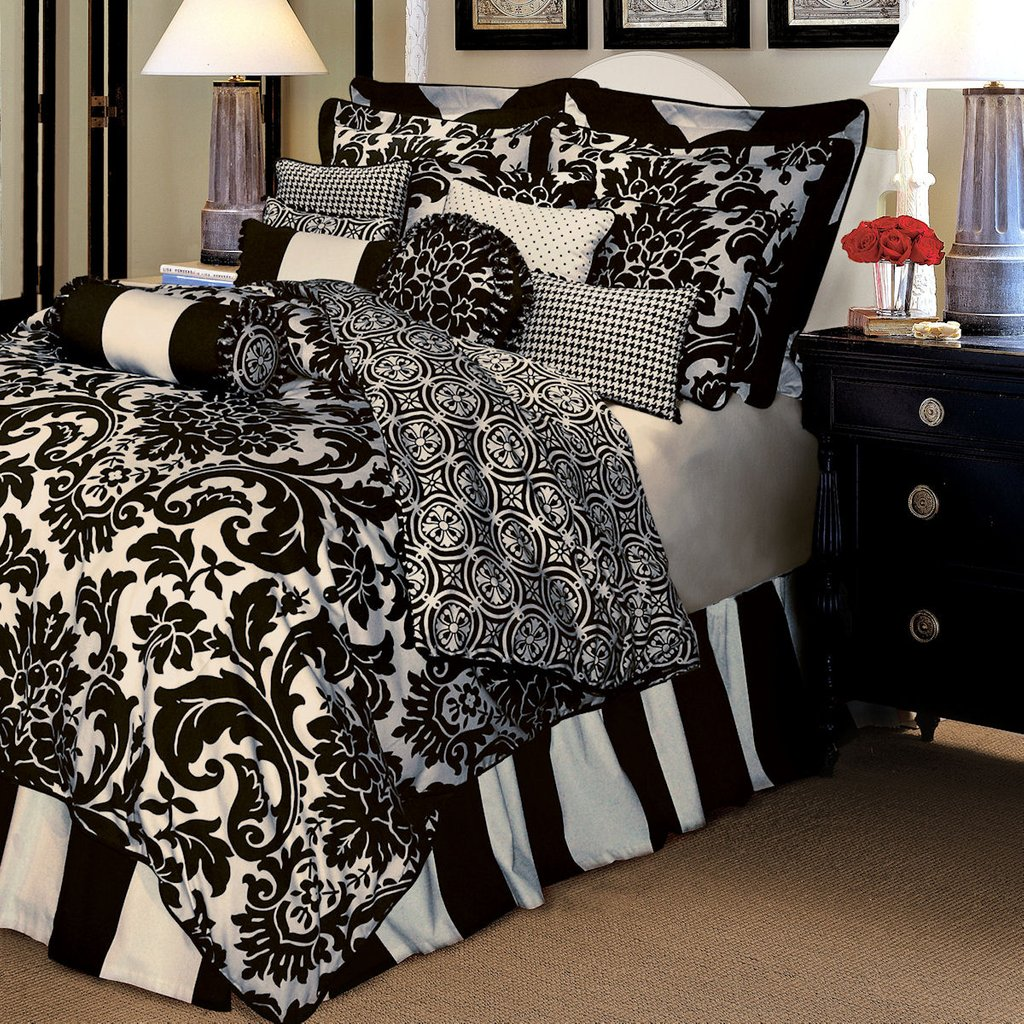 Image of: Comforter Set Rose Tree Luxury Bedding Symphony Black White Black And White Bed Sets For a Candid Awakening
