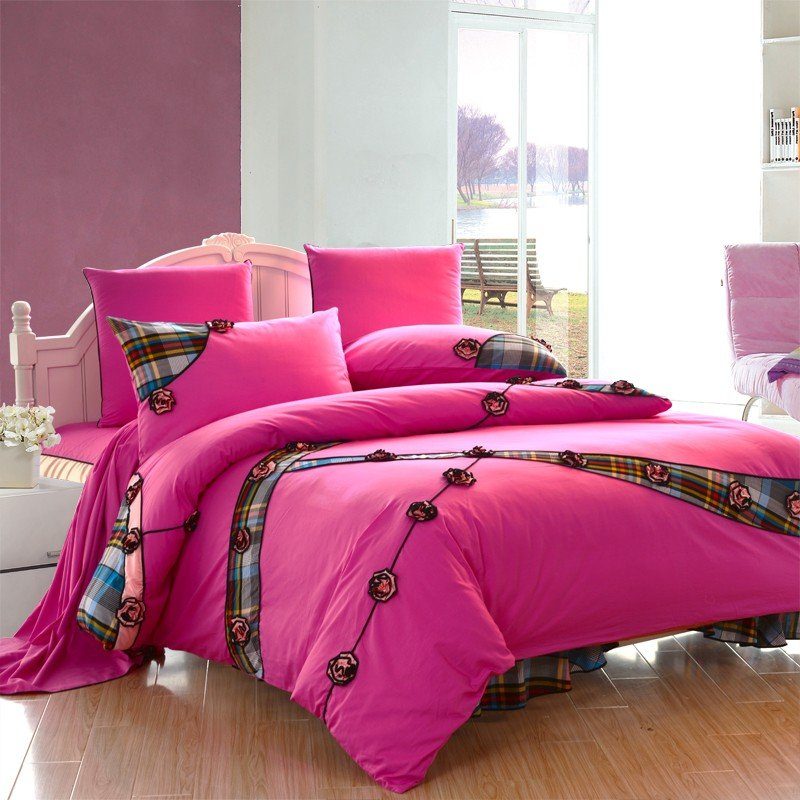 Image of: Hot Pink Girl Plaid Ruffle Bowtie Floral Queen Size Duvet Pink Bedding Sets Queen Ideas