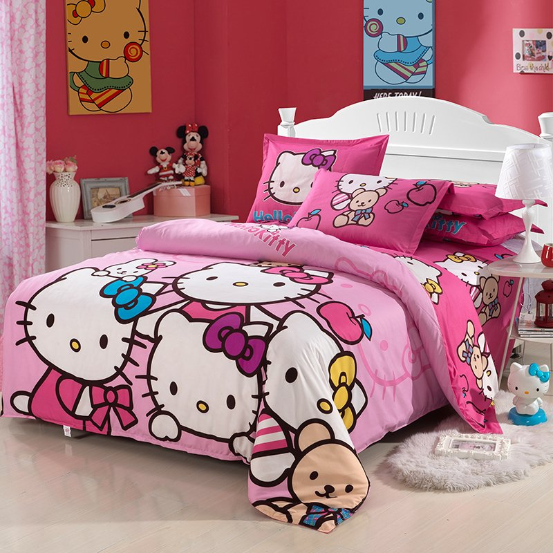 Image of: Kitty Child Kid Bedding Set Girl Twin Restyle Kids Bedding Sets for Girls