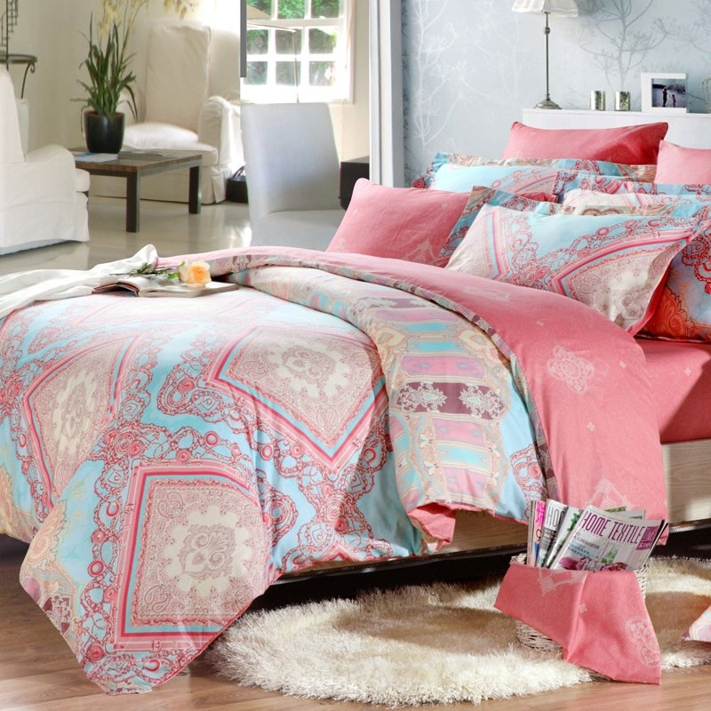 Image of: Light Blue Pink Coral Red Indian Tribal Print Full Pink Bedding Sets Queen Ideas