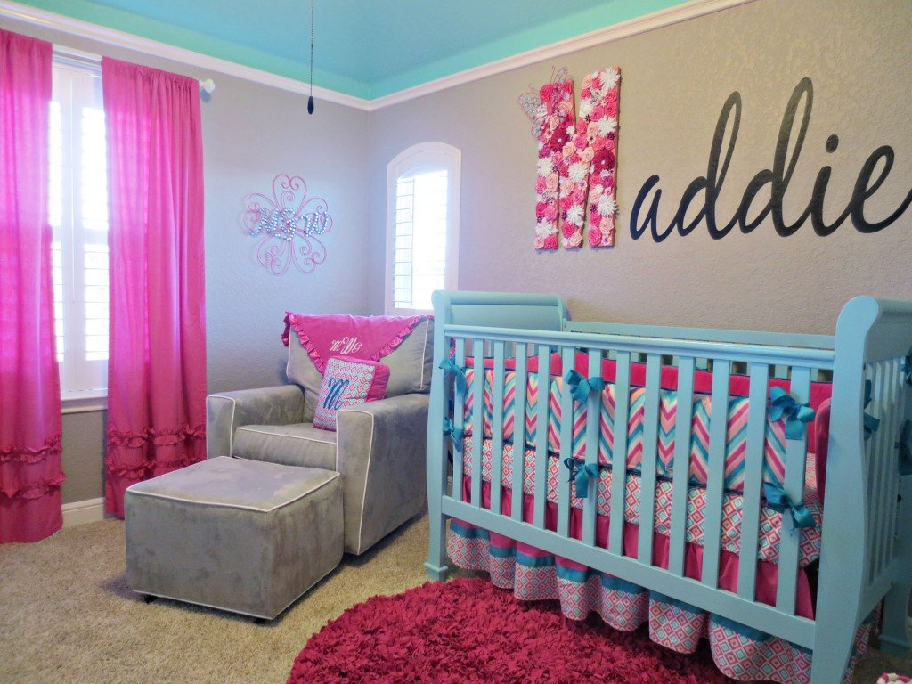Image of: Maddie 39 Pink Aqua Gray Chevron Nursery Project Pink Bedding Sets Queen Ideas
